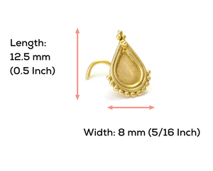 14k Gold Tribal Teardrop Large Nose Stud Jewelry - Layla