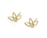 Flower Earrings - Small Solid 14k Gold Lotus Studs - Sarah