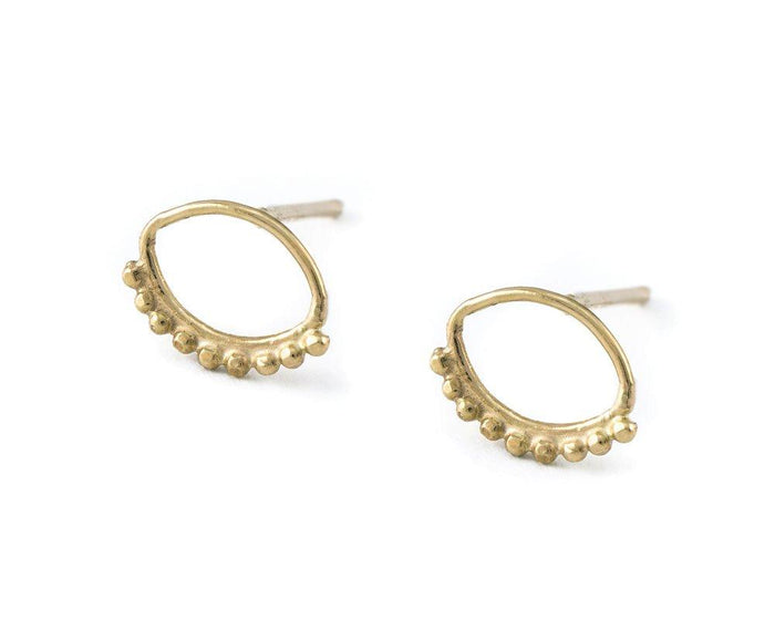 Evil Eye Earrings - Small Solid 14k Gold Tribal Studs - Aya