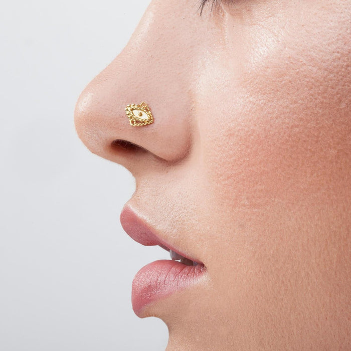 14k Solid Gold Indian Tribal Nose Stud Jewelry - Ava