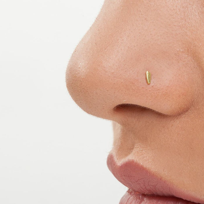 Handmade Solid 14 K Gold Tiny Nose Stud Piercing- Bea