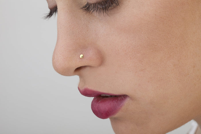 14k Solid Gold Miniature Disk Nose Stud Jewelry - Tina