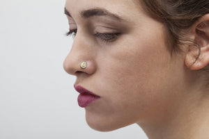 14k Solid Gold Indian Theme Nose Stud Jewelry - Victoria