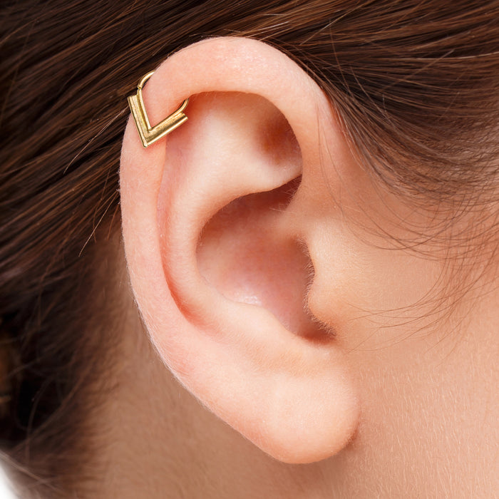 14k Solid Gold V Shaped Cartilage Ear Jewelry - Sofia