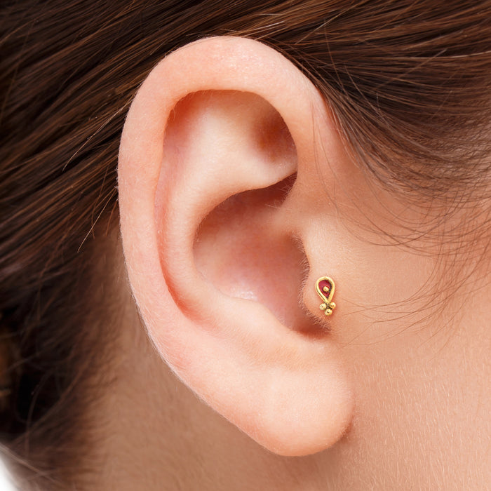 14k Solid Gold Tiny Tragus Stud Ear with Enamel Jewelry - Vanessa