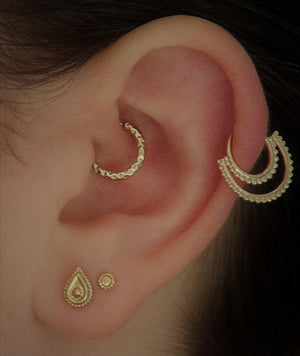 Gold Earrings Set for Multiple Piercings