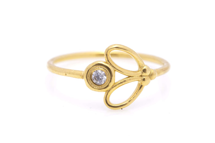 Delicate 14k Gold Diamond Engagement Ring - Mouttie