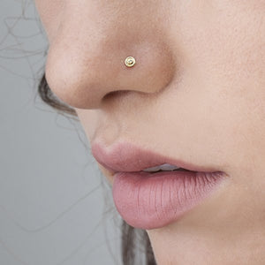 14k Solid Gold with Diamond Hand Carved Tiny Nose Pin Jewelry - Pina