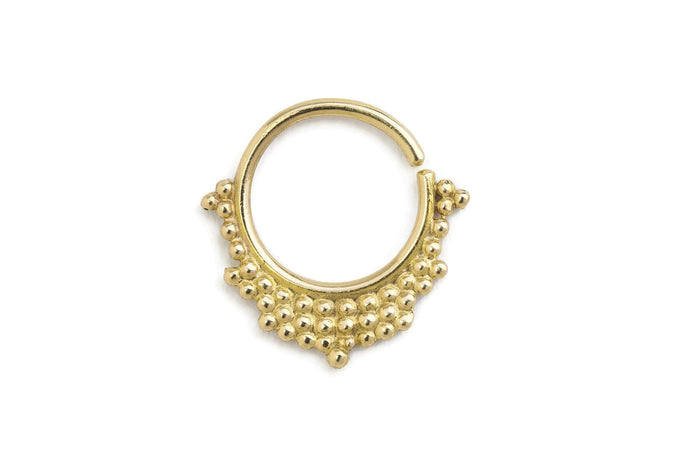 14k Gold Tribal Ornamental Septum Nose Jewelry - Priya