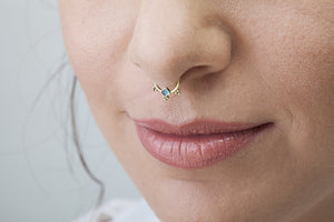 14k Solid Gold And Enamel Septum Nose Jewelry - Kai