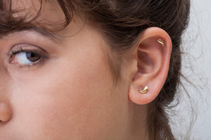 14k Solid Gold Paisley Shaped Ear Piercing Jewelry - Pam