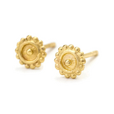 Sun Earrings - Small Solid 14k Gold Tribal Studs - Adele