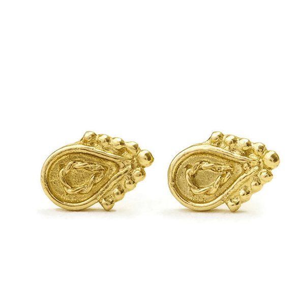Tiny Stud Earrings in Solid 14k Gold - Elise