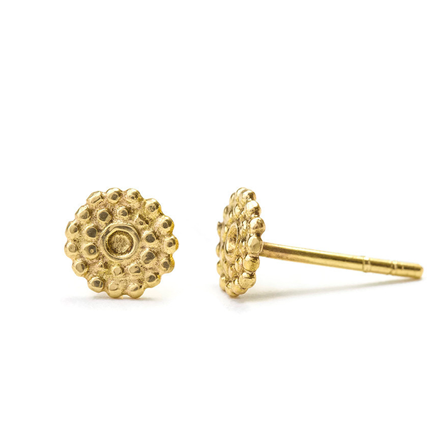 Indian Stud Earrings in Solid 14k Gold - Alice