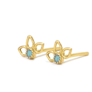 Flower Earrings - Enameled Solid 14k Gold Studs - Lucie - Studio Meme - Dainty Tribal Jewelry