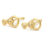 Diamonds Earrings - Small Solid 14k Gold Studs - Olivia