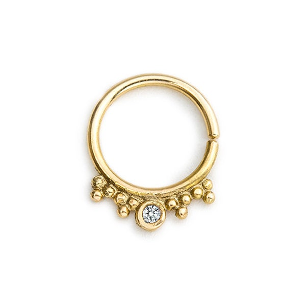Diamond Solid 14k Gold Septum Ring - Chloe