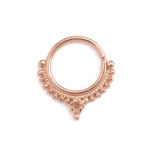 14k Solid Gold Indian Styled Septum Nose Jewelry - Josephine