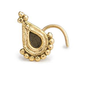 14k Gold and Enamel Teardrop Nose Stud Jewelry - Angelina