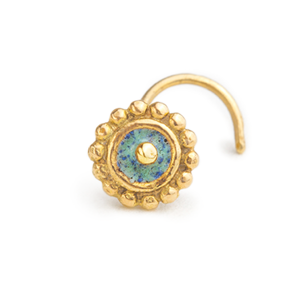 14k Solid Gold with Enamel Ethnic Sun Cartilage Stud Earring - Emma
