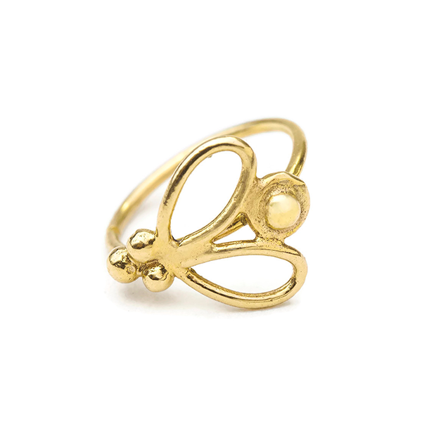 14K Solid Gold Butterfly Nose Ring Jewelry - Ashley