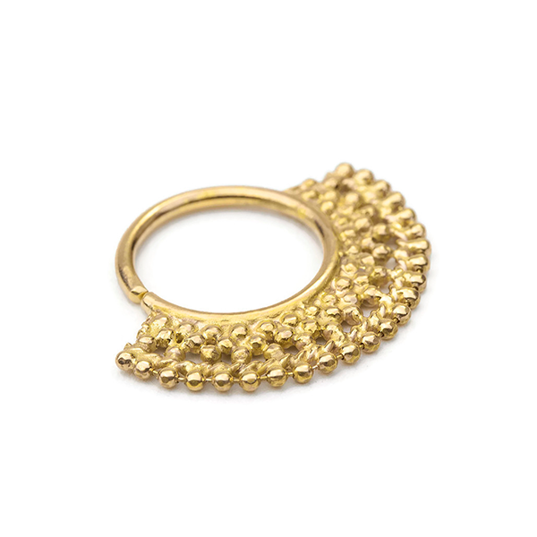 14k Solid Gold Tribal Septum Nose Ring Jewelry - Cleo