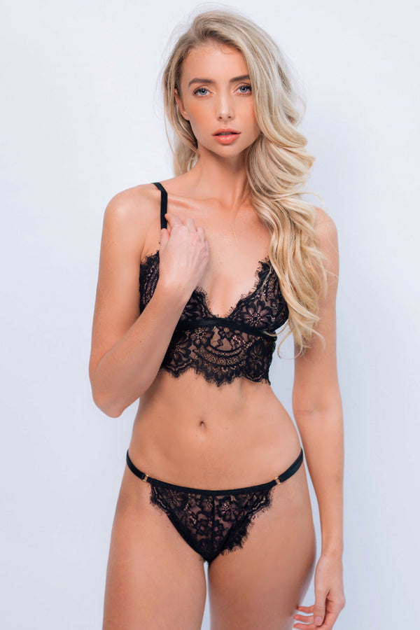 Alicia Black Lace Intimates Set - Ivysister