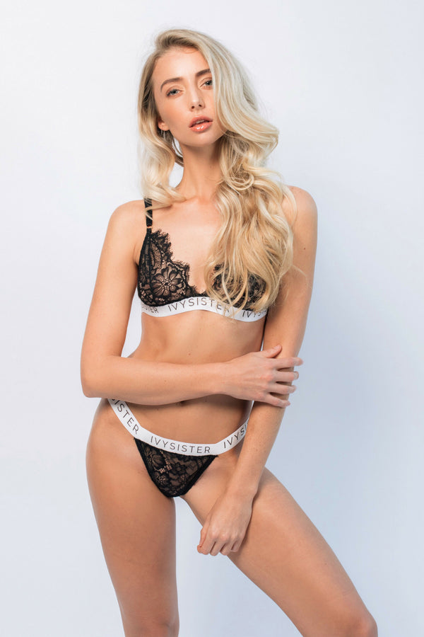 Avelina Black Lace Bra and Thong - Ivysister