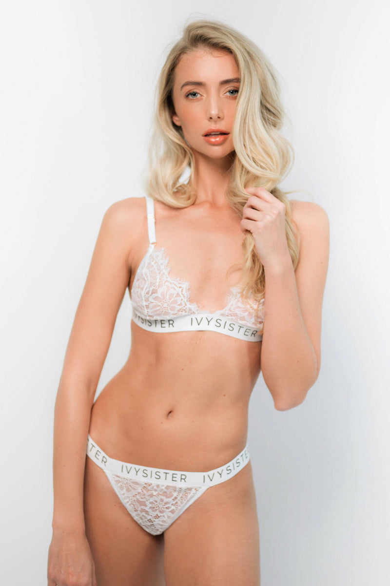 Avelina White Lace Bra and Thong - Ivysister