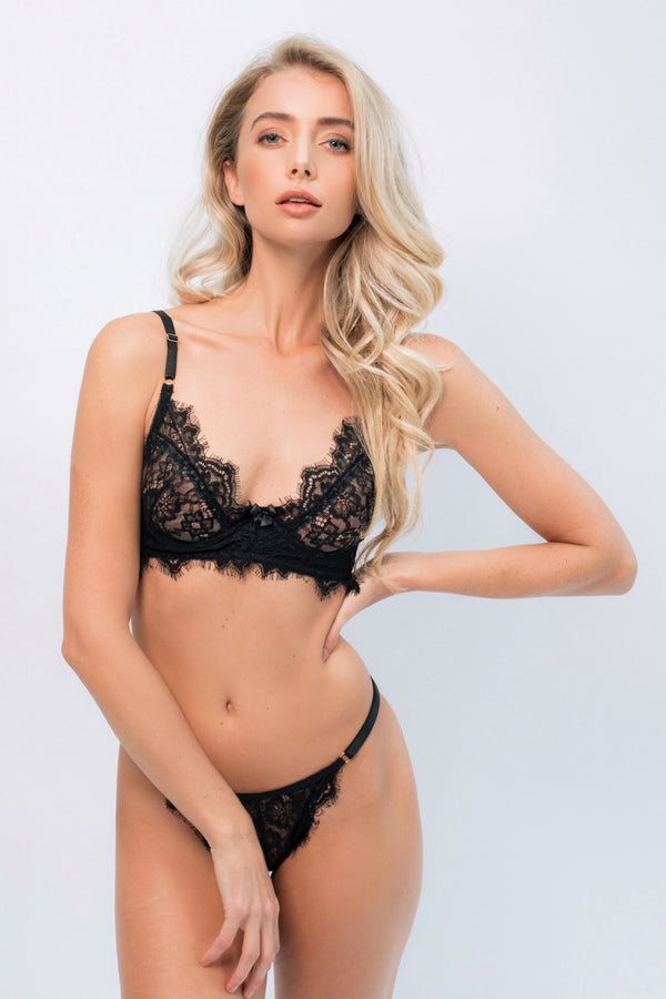 Liliana Black Underwire Intimates Set - Ivysister