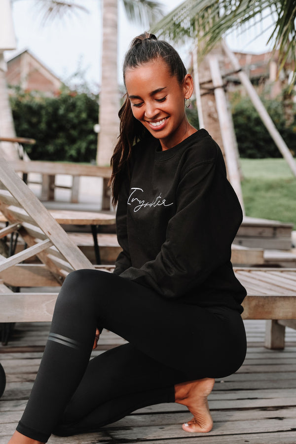 Black Crew Neck Sweatshirt - Ivysister