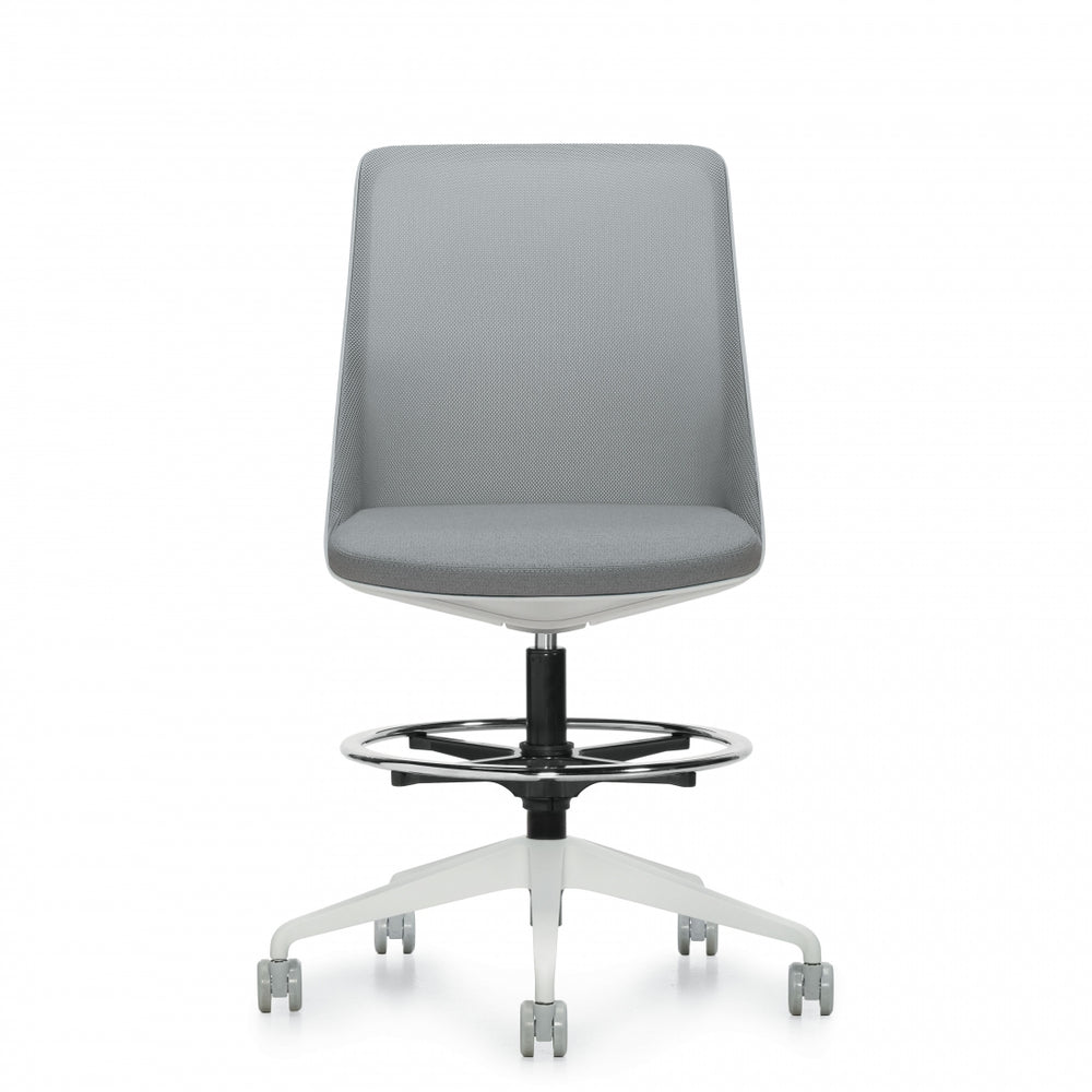 Prefer™ Armless Drafting Stool, Alabaster Frame & Base (8459NAS)