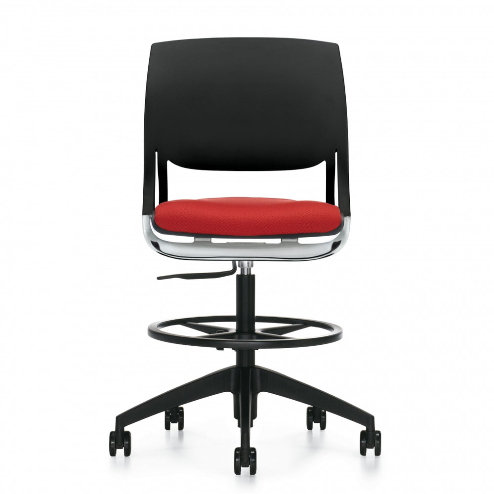 Novello™ Armless Task Stool, Upholstered Seat & Polypropylene Back (6411)