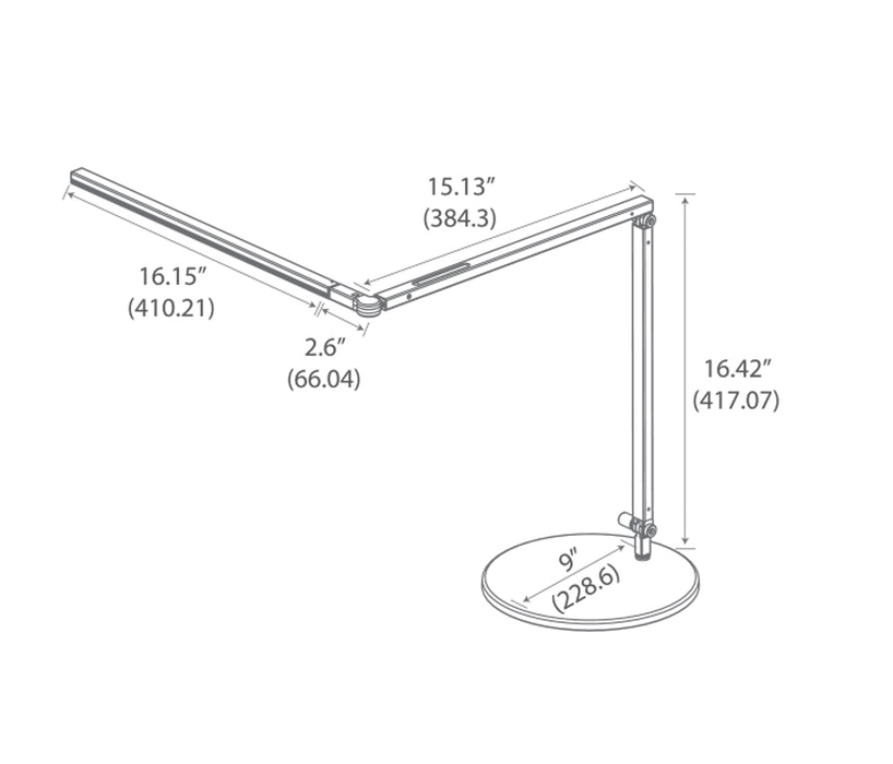 Koncept Z-Bar Desk Lamp with slatwall mount  (Cool Light, Silver)