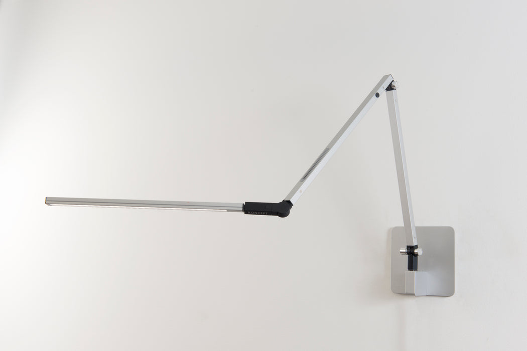 Koncept Z-Bar Desk Lamp with one-piece desk clamp (Warm Light; Silver)