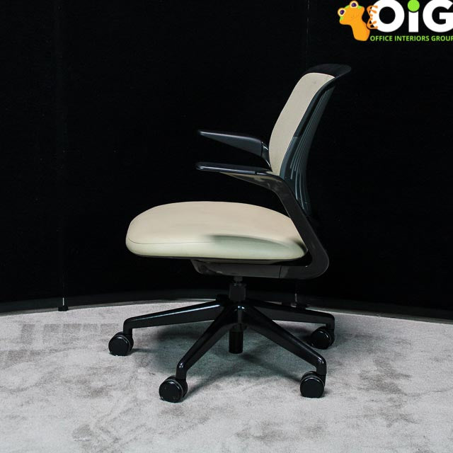 Task Chair with a swivel base & fixed arms, Sand/Black