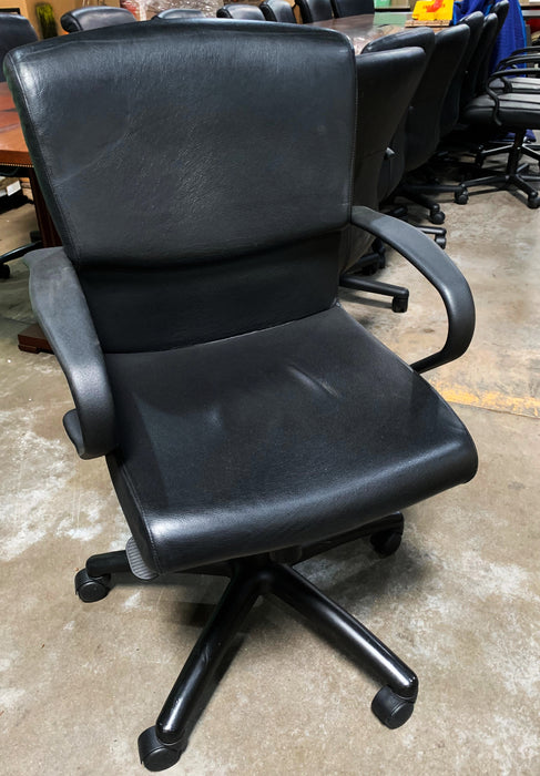 Berhardt Black Leather Conference Chair