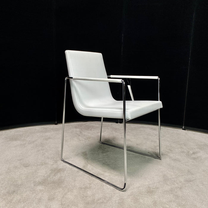 White leather Stack Chair w/ Chrome Sled Base