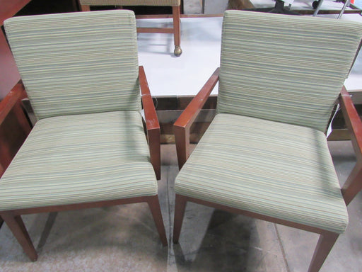 Green Stripe Wood Side Chair