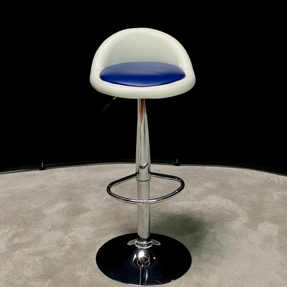 Blue And White Leather Barstool
