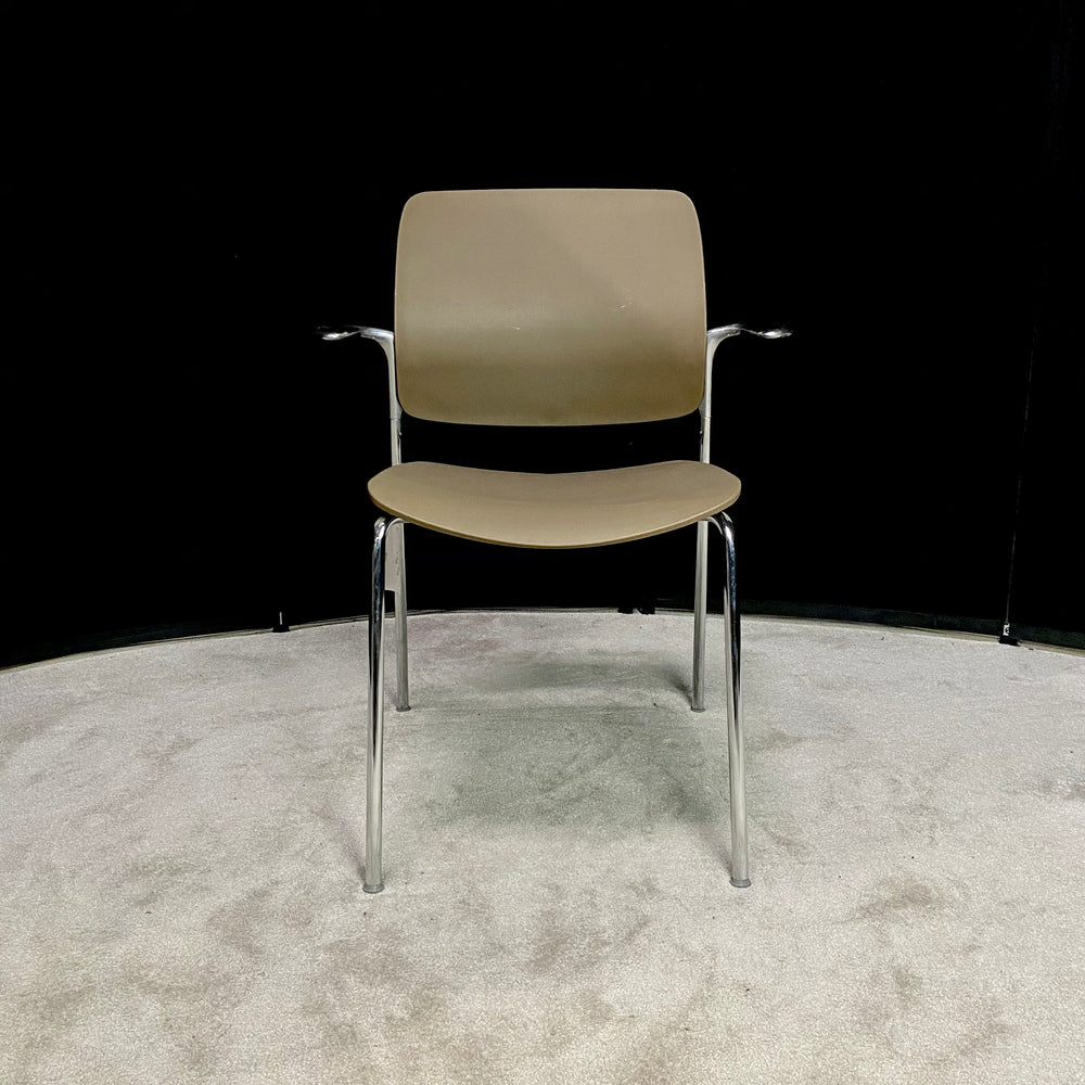 "Allseating ""Astute"" Side Chair Beige/Chrome"
