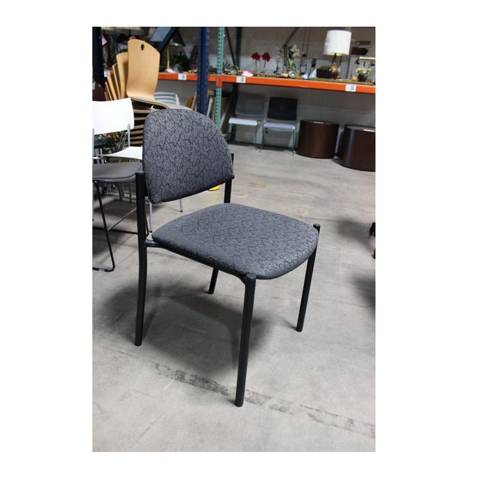 Global Gray Fabric Black Frame Stack Chair