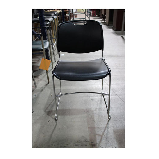 Black Poly Seat and Back Stack Chair- Chrome Sled Base