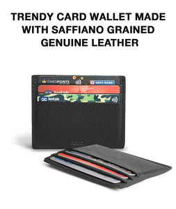 3D Illusion Black Saffiano Sleek Leather Card Wallet