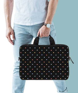 Abstract Confetti Jade Black Laptop Briefcase 14""