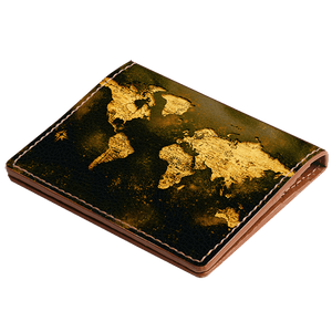 Black Inked Vintage Map Credit Card Wallet