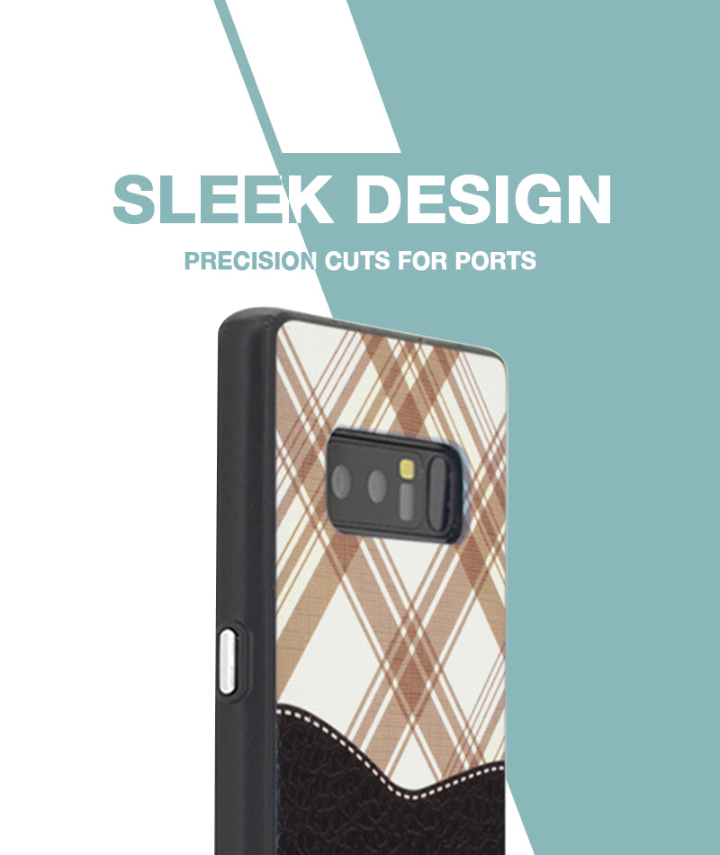 Black Leather checkered Case For Galaxy Note 8