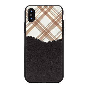 Black Leather checkered Case For iPhone X