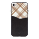 Black Leather checkered Case For iPhone 8