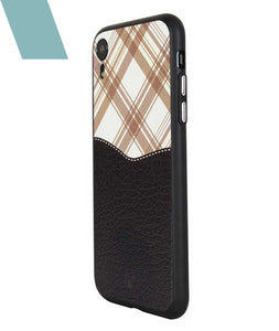 Black Leather checkered Case For iPhone XR